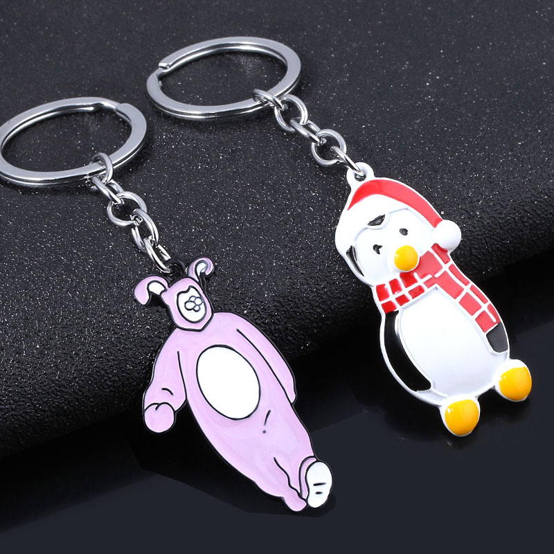 SG TV Show Friends Keychains Joey Penguin Hugsy Chandler Rabbit Central Perk Coffee Time Collar Lady Girl Friend Jewelry Gift image