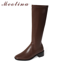Meotina Riding Boots Women Shoes Zip High Heel Knee-High Boots Square Toe Block Heels Long Boots Lady Autumn Winter Black Brown цена 2017