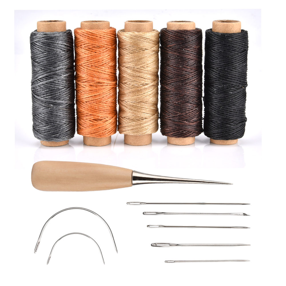 14pcs Leather Craft Tools Hand Stitching Sewing DIY Rope Needle Thimble Thread Awl Handwork Kits Leathercraft Accessories image