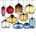 Скандинавский Лофт Led подвесной светильник современный цветной стеклянный подвесной светильник s гостиная ресторан спальня светильник Све...