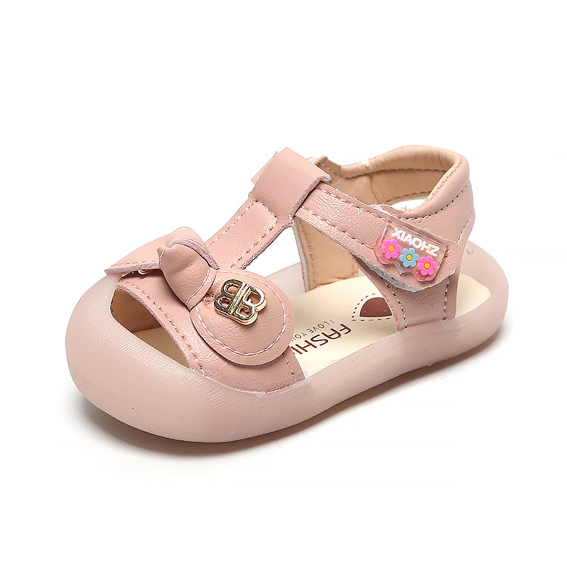 Bow Princess Sandals Little Girl Toddler Shoes 2020 Summer Closed-Toe Children's Slippers 1-2 Years Old