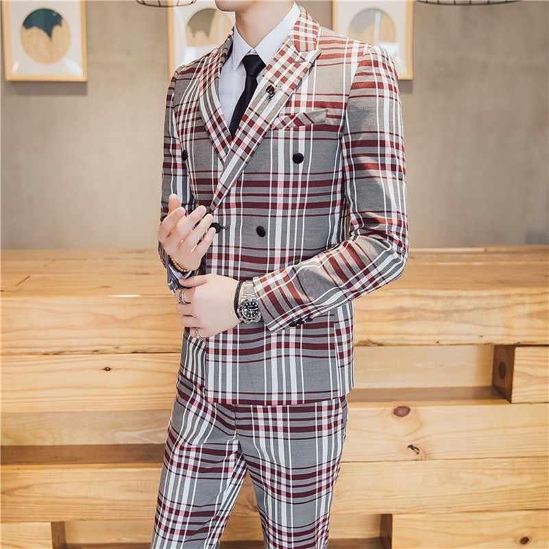 3 Pieces Suits Men 2019 Homme Suits Men British Latest Designs Mens Suit Slim Fit Plaid Stage Performance Wedding Dress Tuxedos