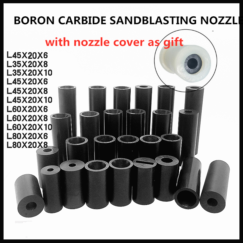 Sandblasting Boron Carbide Nozzle Tip Diameter 3-10mm Length 35-80mm With Nozzle Cover