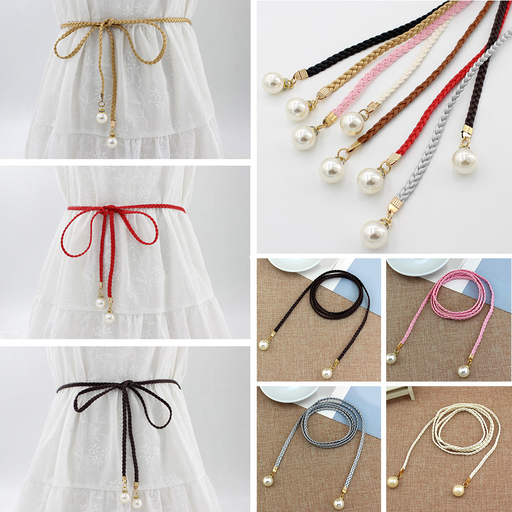 Women Belt Style Candy Color Waist Chain Hemp Rope Braided Big Pearl Dress Belt Casual Thin Belt For Dress Candy Color Women