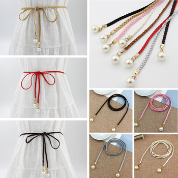 Women Belt Style Candy Color Waist Chain Hemp Rope Braided Big Pearl Dress Casual Thin For