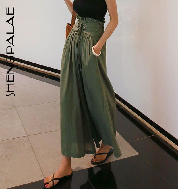 SHENGPALAE 2020 Autumn Thin Styke Solid Color Female Trousers Bandage High Waist Wide Leg Woman Loose Korean Pants FT386