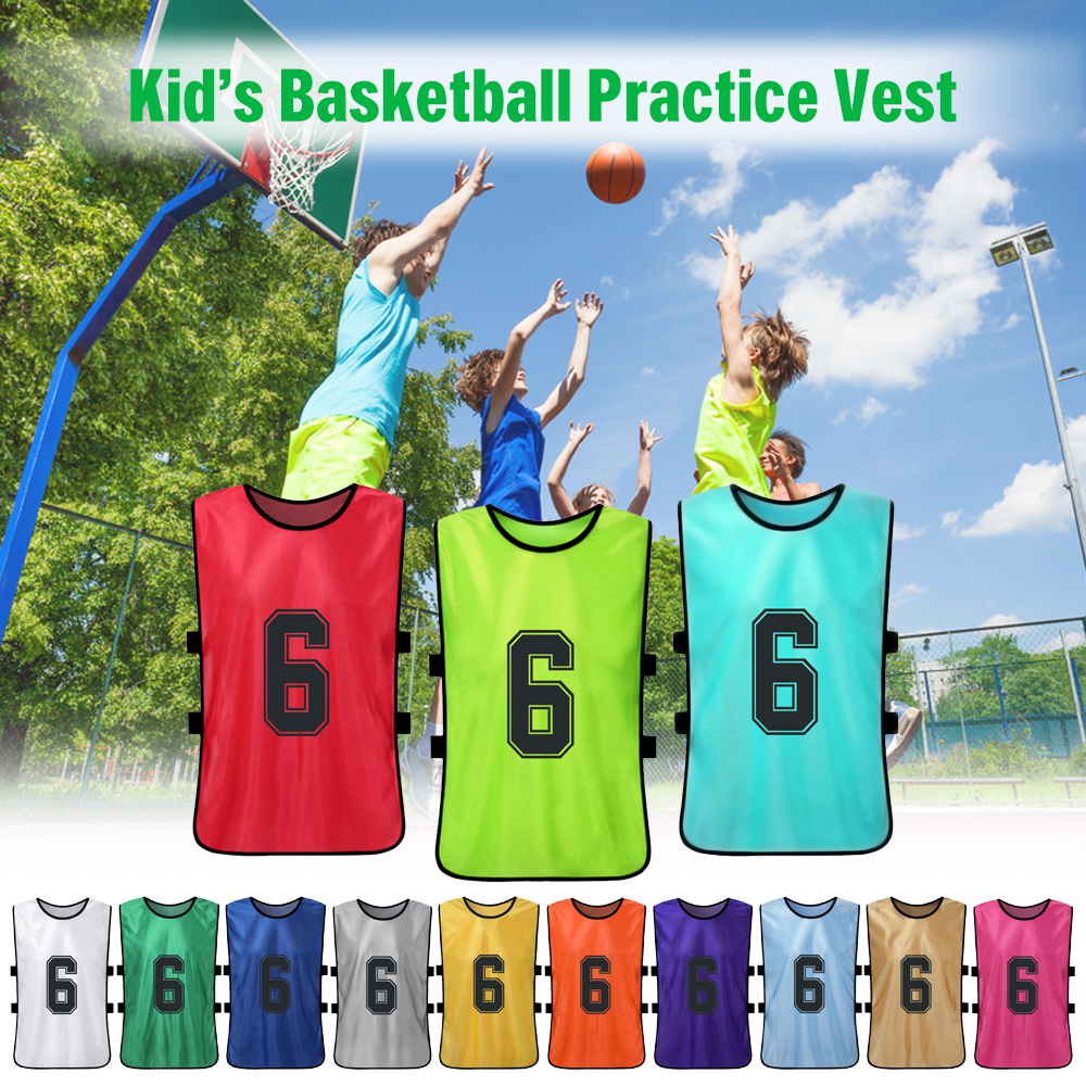 12PCS Kid Football Pinnies Quick Drying Soccer Jersey Youth Sports Scrimmage Basketball Team Training Numbered Bib Practice Vest