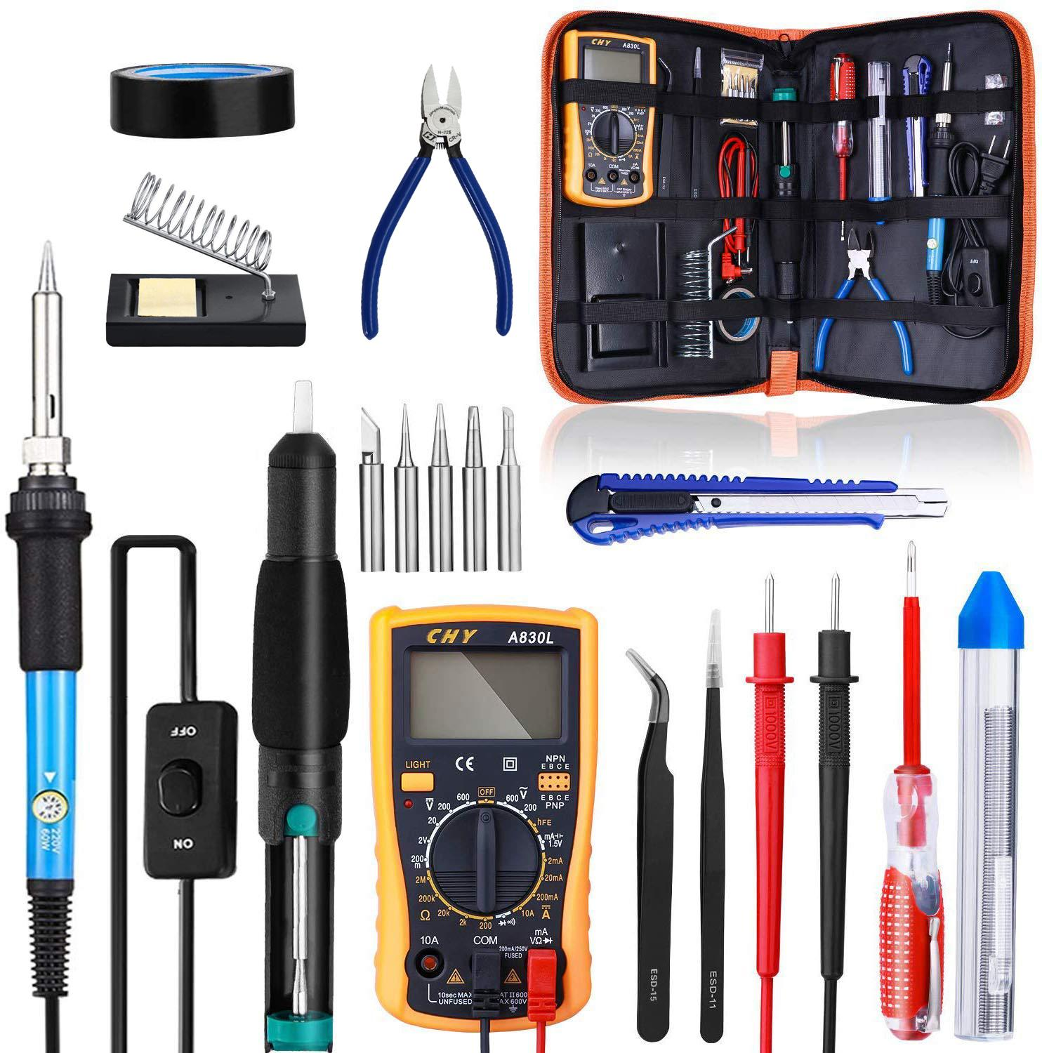 Soldering Iron Kit, 60W 220V/110V Welding Tool Adjustable Temperature Electric Soldering Iron Set Welding Solder Station