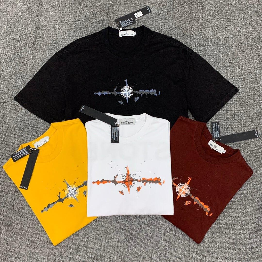 Stone Compass Back Printed Letter Short Sleeve T-shirt Men's