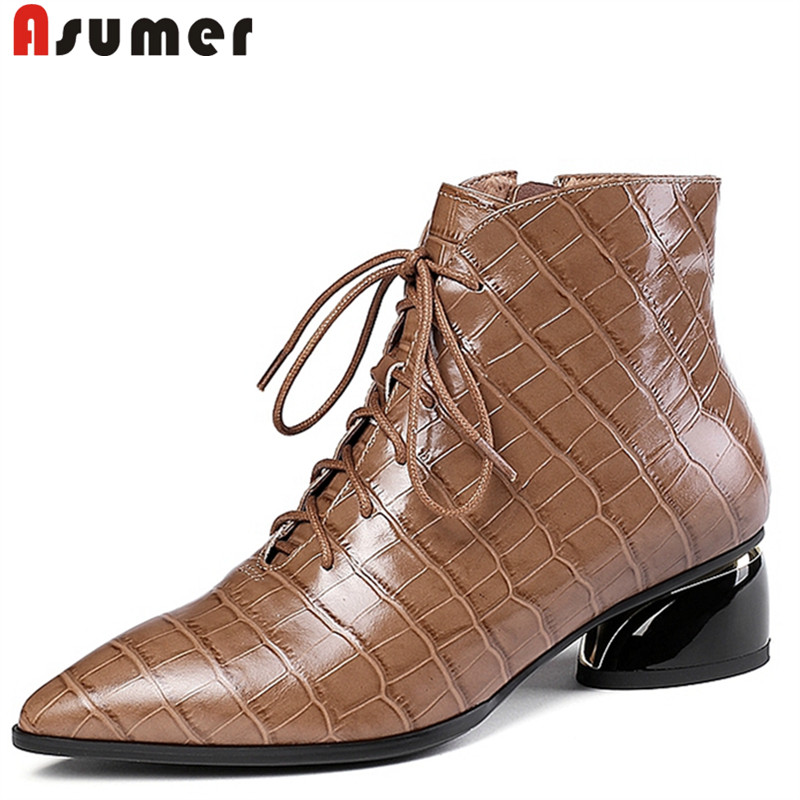 ASUMER Boots Women Office-Dress Pointed-Toe Autumn Big-Size Genuine-Leather New Full