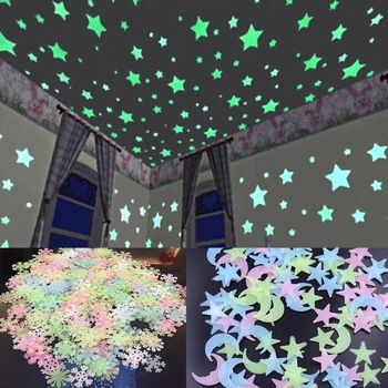 3D Star and Moon Wall Stickers Energy Storage Fluorescent Glow In The Dark Luminous For Kids Bedroom Ceiling Home Decor Decal image