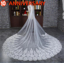 OLLYMURS Wedding Long Veil Cathedral Veil Two-Layer Plain Dyed 300cm Cut Edge Lace Double-layer Wedding Accessories