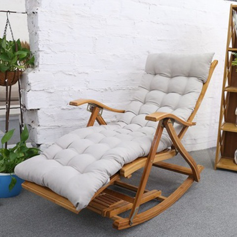 Rocking Chair Adult Leisure Chair Lunch Break Old Chair Balcony Solid Wood Folding Chair Leisure Cane Chair Nap Bamboo Chair
