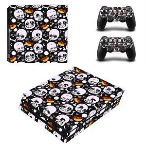 Image 1 - Iskelet vinil cilt Sticker Sony PS4 Pro konsol ve 2 kontrolörleri çıkartması kapak oyun aksesuarları