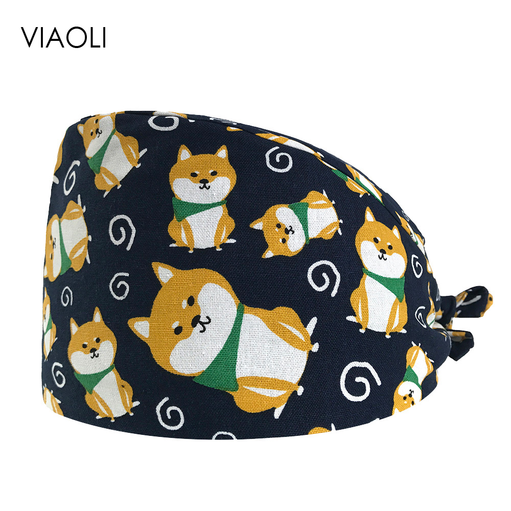 VIAOLI Men Women Medical Scrubs Pharmacy Work Cap Surgery Nurse Hat Oral Cavity Dental Clinic Pet Veterinary Surgical Cap022