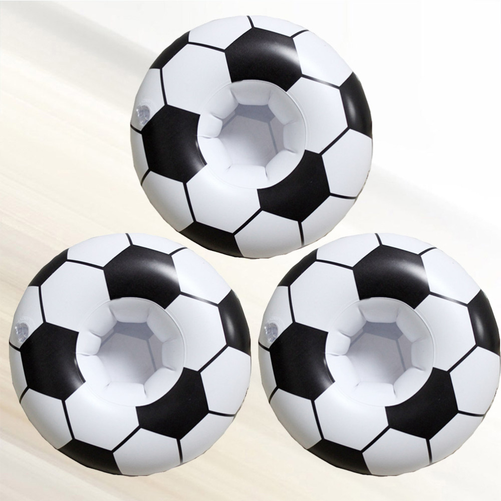 3pcs Inflatable Football Drink Cup Holder Beach Backdrop Coasters Party Favors Decor (Black White)