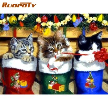 RUOPOTY 40x50cm Framed Picture By Numbers For Adults Diy Gift Cats Christma Painting By Numbers Acrylic Paint Drawing On Canvas