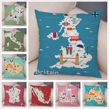 Pillow-Case Usa-Map-Cushion-Cover Sofa Home-Decor Cartoon Plush Geometric for Simple
