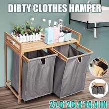 2PCS Multi-function Bamboo Storage Cabinet Shelf Laundry Basket Organizer arge Capacity Dirty Clothes Storage Rack For Bathroom