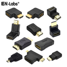 Złącze kabla HDMI Adapter 90 kąt narożny lewego prawego w górę męski przedłużacz żeński, przedłużacz Mini/Micro do HDMI