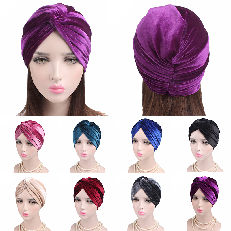 2019 New Women Velvet Turban Hat Headband Muslim Hijab Caps Female Soft Bandana Headband Hijabs Head Wrap Hair Accessories