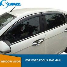 Defletores da janela lateral para ford focus 2005  2011 hatchback/sedan winodow viseira ventilação shades sun chuva guarda defletor sunz