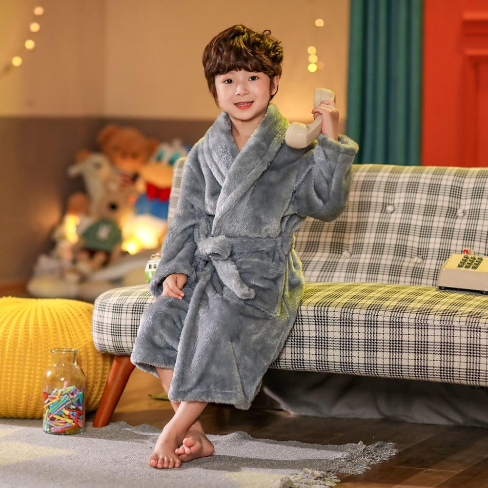 2021 new delivery children clothes winter boy girl pajama Flannel robe baby Bathrobe home clothes 3-12year 1