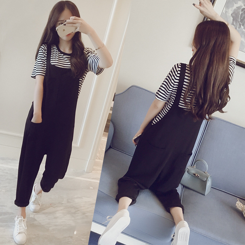 Casual Suspender Pants Student 2019 Spring Summer New Style Korean-style Loose-Fit Slimming Two-Piece Set Harem Capri Pants