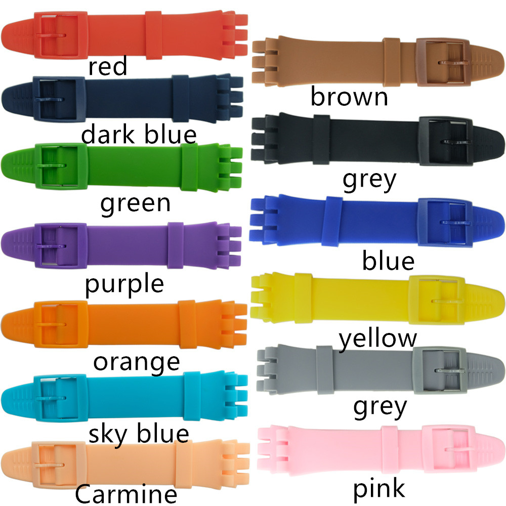 Colorful Silicone Watchband For Swatch Watch 12mm 16mm 17mm 19mm 20mm Rubber Replace Bracelet Strap Band Accessories Pink Black