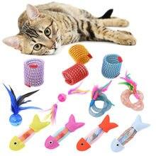 1 pc mangueira primavera e lona peixe brinquedo delicado gato brinquedo pena luz bola de plástico jogando engraçado interativo brinquedo de pelúcia suprimentos