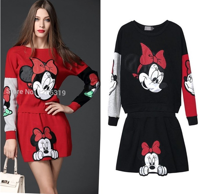 Spring Autumn Women's Cartoon Knitted Skirts Suits Embroidery Casual Colorful Mouse Appliques Sweaters And Skirt Suits NS960