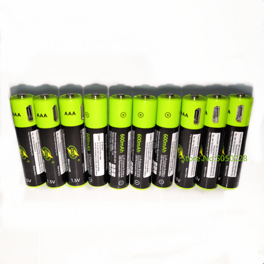 ZNTER 10PCS USB AAA Rechargeable Battery 1.5V 600mAh Lithium Ion Battery Toy Remote Control Battery Lithium Polymer Battery image