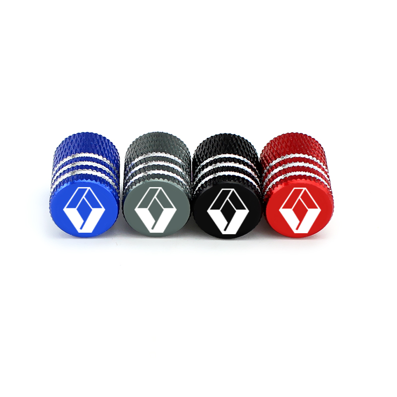 Rhombus Logo Car Tire Valve Caps Auto Wheel Decor Red/Blue For Renault Clio Captur Megane 2 Scenic 2 Duster Logan Sandero Koleos