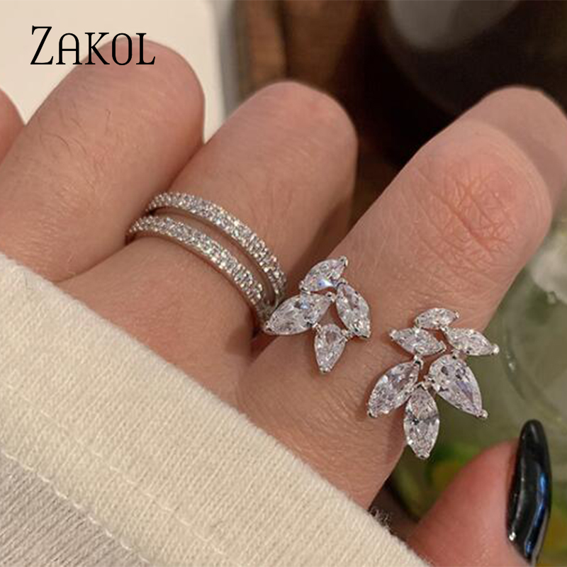 ZAKOL Temperament Daily Party Hand Finger Jewelry Shiny Zircon Leaf Drop Crystal Opening Metal Rings for Women FSRP2194