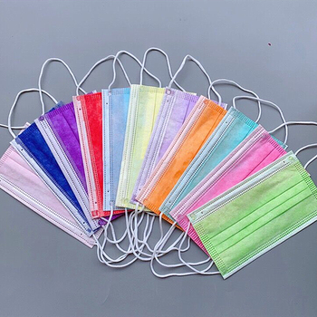 50 Pcs Multi Colored Purple Yellow Neon Green Red Orange Pink Disposable Masks Melt-blown Mouth Cover 3 Layers Face Mask Adult