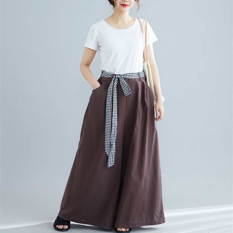 2019 Women Autumn Vintage Harem   Pants   Elastic Waist Loose Casual Women Trouser Cotton Linen Sashes   Wide     Leg     Pants