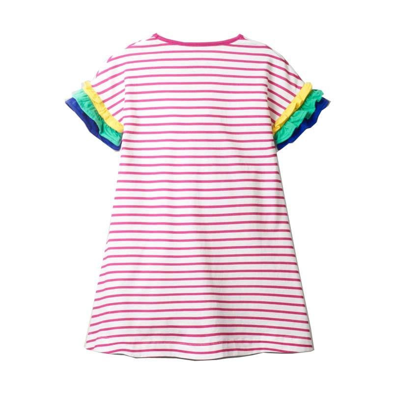 2-8 Years New Girls Dresses 2021 Summer Kids 100% Cotton Children Princess Dress Stripe Printing Clothes 3