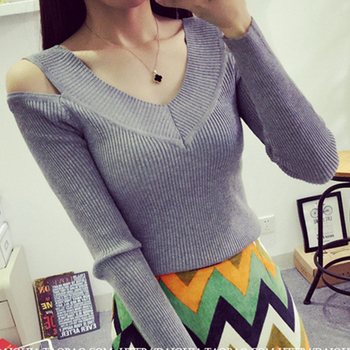shintimes Women Sweaters 2019 Autumn Winter Clothes Women Sexy Off Shoulder V-Neck Knitted Sweater Fashion Pullover sweaters