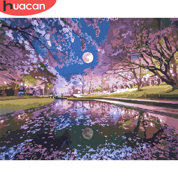 HUACAN Paint By Number River Drawing On Canvas Gift DIY Pictures By Numbers Lake Kits Hand Painted Painting Art Home Decor