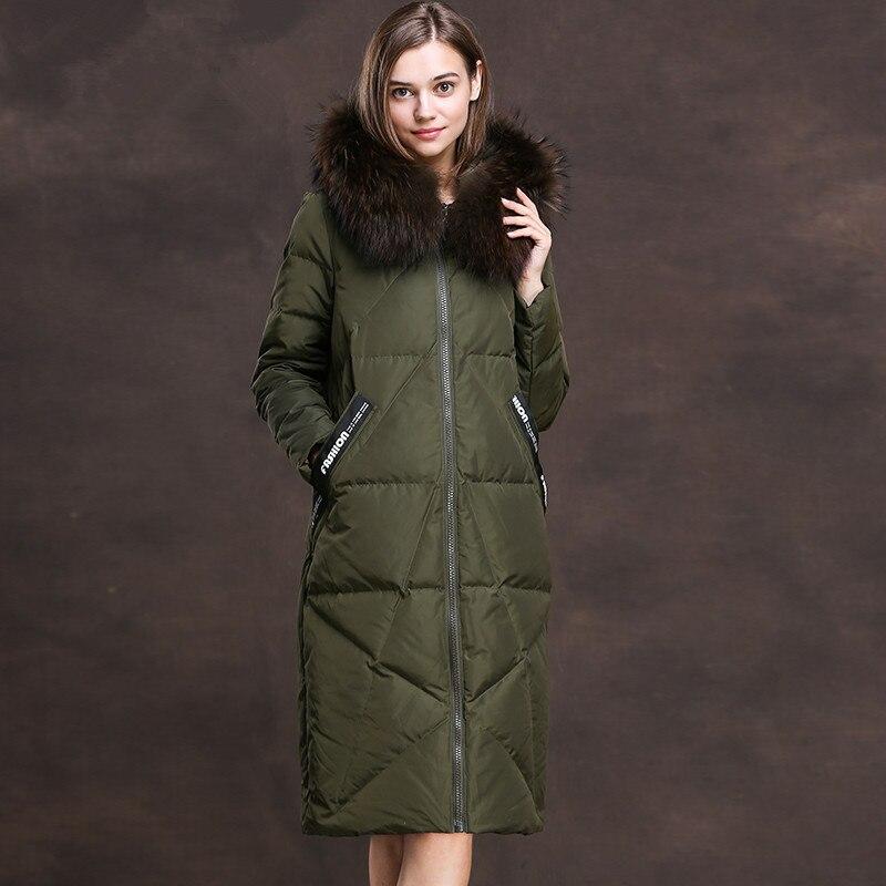 Down Women's Jacket Winter Jacket Women Real Raccoon Fur Collar Parka Long Jackets For Women Down Coat Chaqueta Mujer MY S