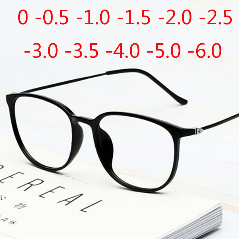 Ultra-light Carbon Steel Glasses Super Big Nerd Frame Decorative Anti-blue Light Myopia Eyeglasses -0.5 -1.0 -1.5 -2.0 To -6.0