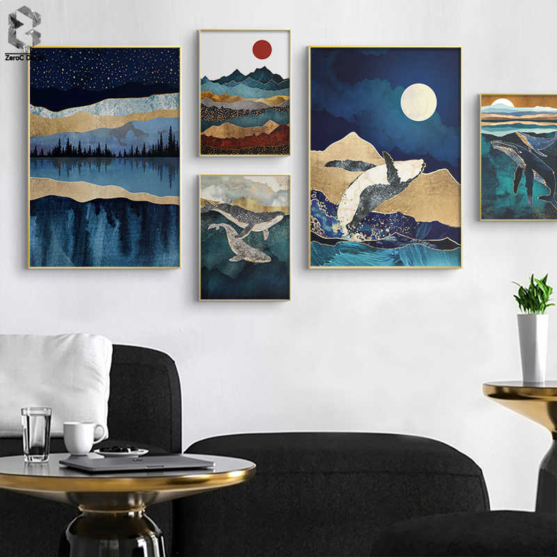 Nordic Abstract Sunrise Wall Art Canvas Painting Vintage Geometric Whale Mountain Landscape Poster Print Picture for Living Room