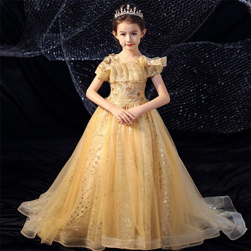 2019Luxury Gorgeous Children Girl Golden Color Birthday Evening Party Long Tail Dress Model Show Catwalk Kids Host Costume Dress