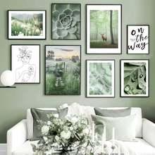 Настенное искусство зеленый постер в скандинавском стиле природная
