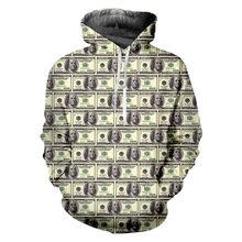 Ifpd европейский размер 3d принт доллар толстовки смешного размера
