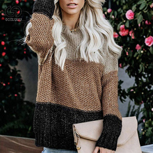 2019 NEW Fashion Casual Basic Jumper Woman Women Winter Striped Knitted