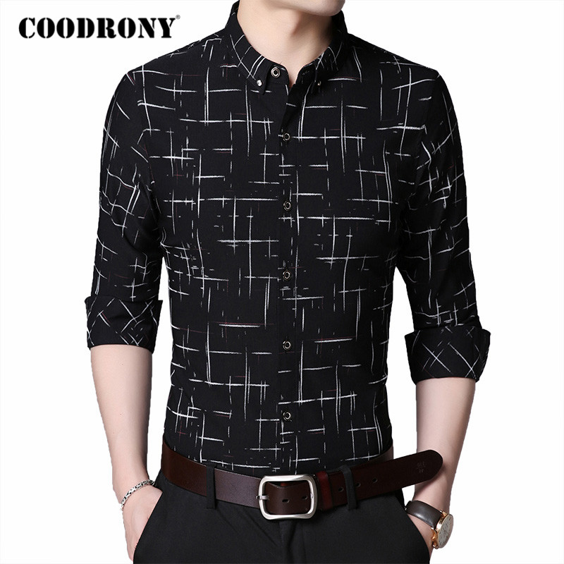 COODRONY Brand Fashion Plaid Long Sleeve Shirt Men Clothing Spring Autumn Mens Business Casual Shirts Cotton Chemise Homme C6030