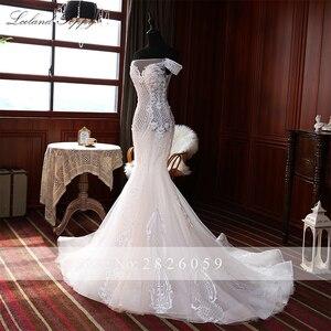 Image 4 - Elegante Spitze Appliques Meerjungfrau Hochzeit Kleider 2020 vestido de noiva Ärmellose Bodenlangen Weg Von der Schulter Brautkleider