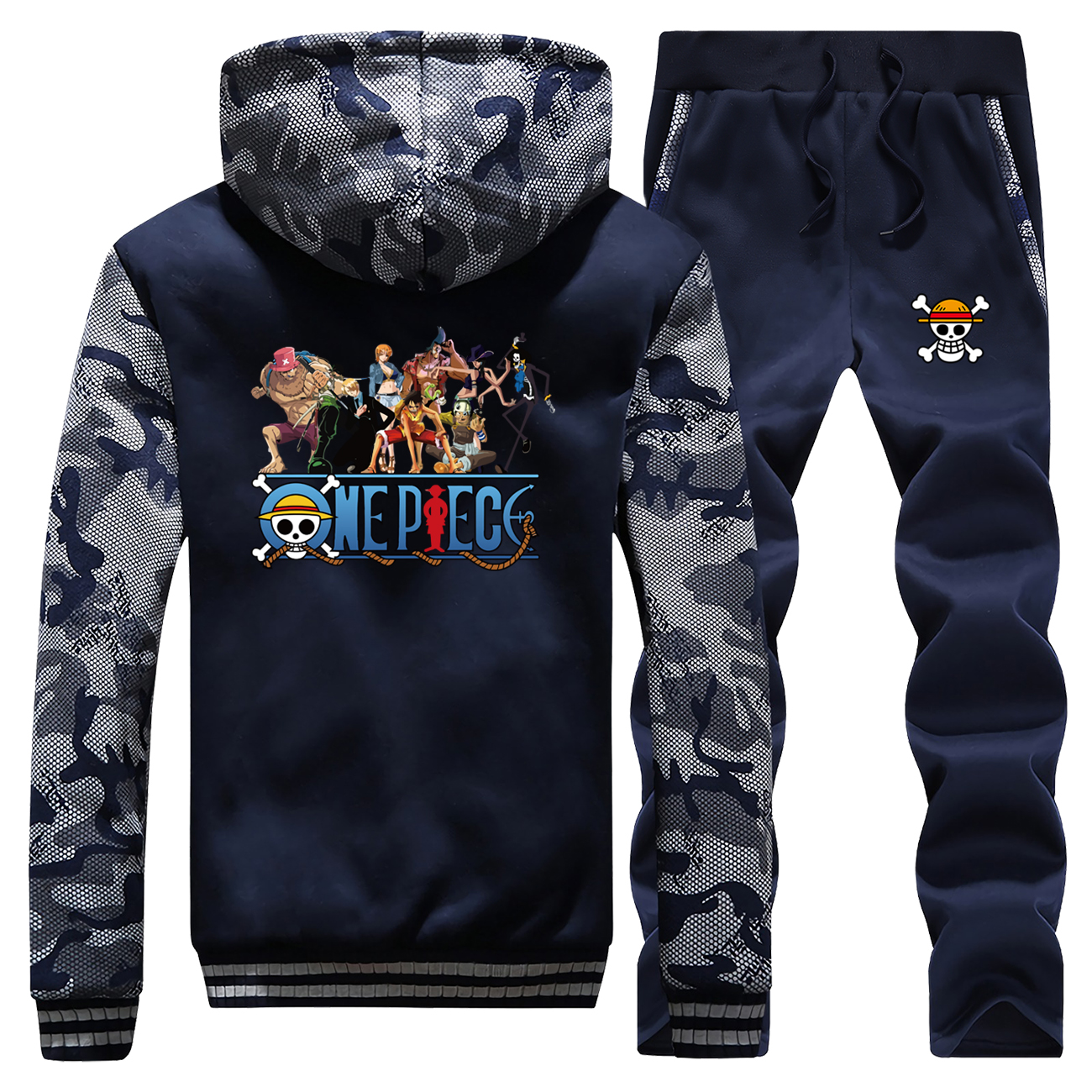 The Straw Hat Pirates Thick Sweatshirt Hoodie+Pants 2 Piece Sets One Piece Men Hoodies Hip Hop Man Clothing Anime Mens Tracksuit