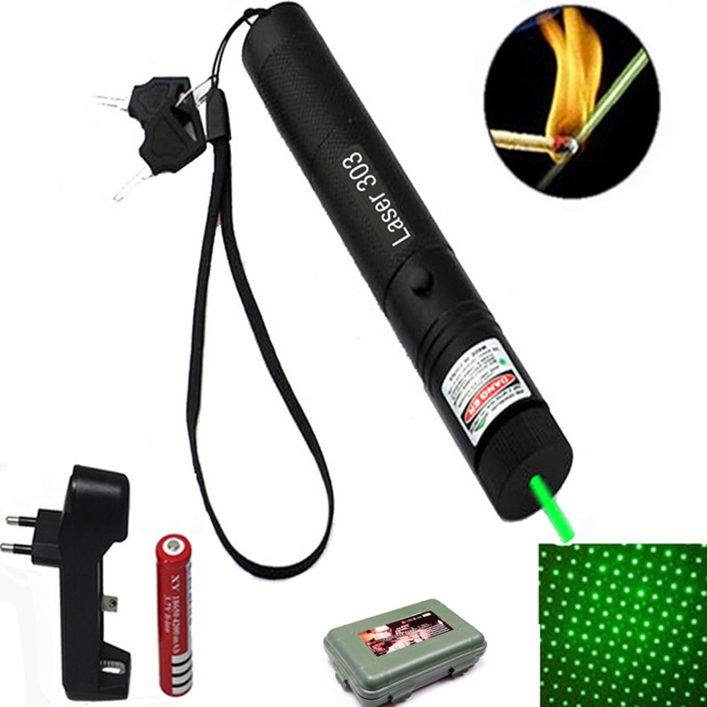 Green Laser 303 High Power Laser Pointer 532nm Pointer Pen Adjustable Burning Green Lazer Match With Rechargeable Battery Box